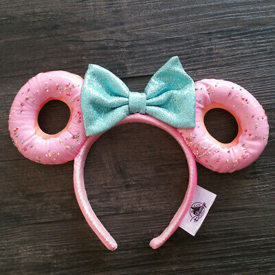 Disney Parks Foodie Minnie Mouse Glitter Bow Sprinkle Donut Ears Headband NEW