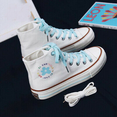 Womens Girls High Top Canvas School Shoes Casual Sports Plimsolls Skate Sneakers