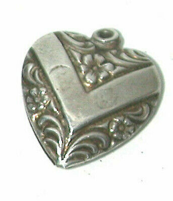 Vintage Antique Sterling Silver Puffy Heart Charm Fancy V Repousse Flower