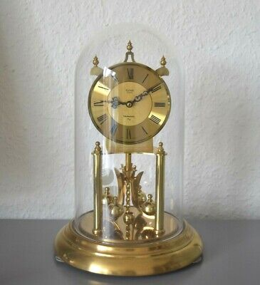 KUNDO Westminster 4/4 rare, vintage glass dome clock. Made in Germany. Brass.