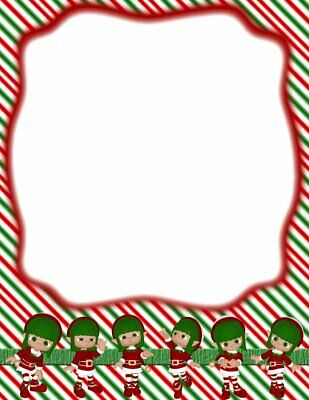 Christmas Candy Cane Girls Stationery Printer Paper 26 Sheets