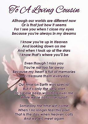 To A Loving Cousin Memorial Funeral Graveside Poem Card & Free Ground Stake F355