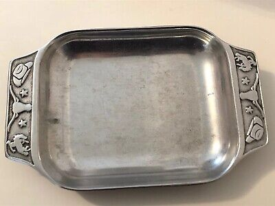 VINTAGE RWP THE WILTON CO. PEWTER SERVING DISH/TRAY COWBOY RODEO THEME 10 x 6.5""