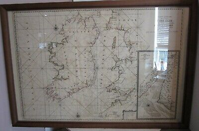 """Antique French 1693 Map of IRELAND D'Irlande - Framed and Mounted  38"""" by 26"""""""