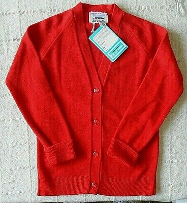 Vintage School Cardigan - Age 11-12 Years Approx - Red - Courtelle - New