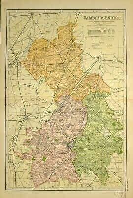 1902 Antique Map Cambridgeshire March Hittlesey Ely Newmarket Linton