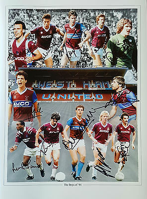 WEST HAM UNITED Signed 16x12 Photo THE BOYS OF '86 COA