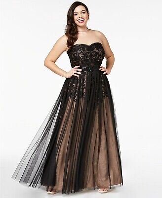 City Chic Women's Plus Size Strapless Tulle-Overlay Ball Gown Evening Dress, 14W