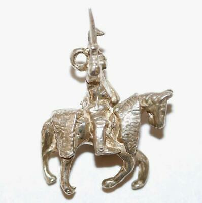 Rare Medieval Knight In Armor On Horse Sterling Silver Vintage Bracelet Charm