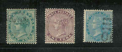 A31 British Commonwealth India 1850-1880 QV x 3 used stamps