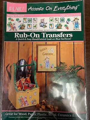 Vegetable Bunnies 57058 Rub-On Transfers Plaid Accents 1994 Donna Spiegel