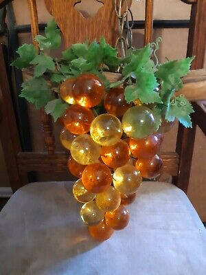 60's Vintage LARGE Lucite Acrylic Cluster Grapes Retro Hanging Swag Lamp Amber