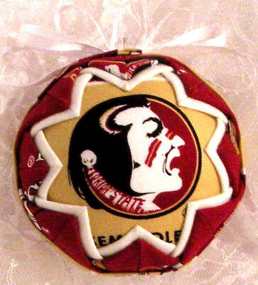 Fsu Seminoles Florida State Univ. Football Quilted Ball Ornament Great Gift B3
