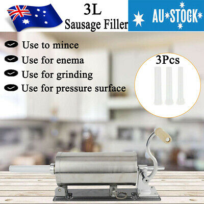 3L Sausage Filler Stuffer Maker Horizontal Stainless Steel Meat Machine 4Nozzles