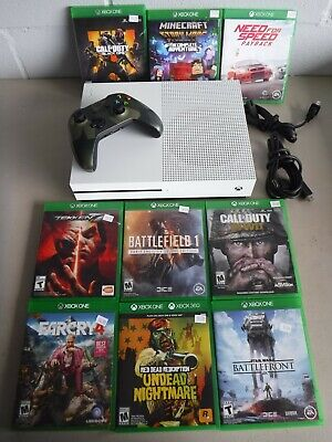 Microsoft Xbox One S 1tb Console and Game Lot of 9