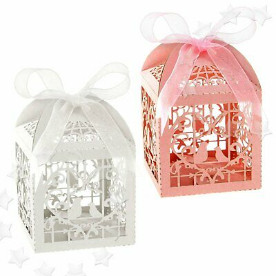 New Pink Laser Cut Favors Wedding Party Pigeon Ribbons Boxes Candy Gifts USA