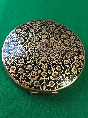 """Vintage Stratton Powder Compact Made In England Enameled """"Indian Print"""" Design"""
