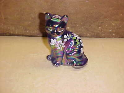 Contemporary Fenton Signed Hand Painted Carnival Glass Cat Figurine-Nice