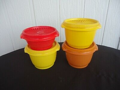 4 vintage retro tupperware round canisters yellow orange red containers