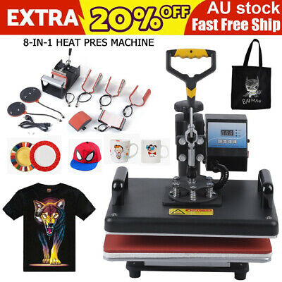 8 in 1 Heat Press Machine Swing Away Digital Sublimation Heat Pressing f#