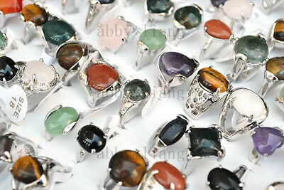 Silver Plated stone rings with assorted natural gemstone beads band Ring 20X US