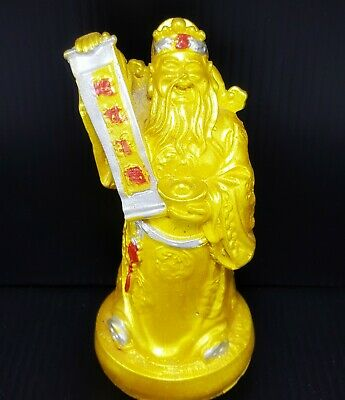Feng Shui God Chinese Caishen Statue Lord Wealth Fortune Rich Figurine Handmade
