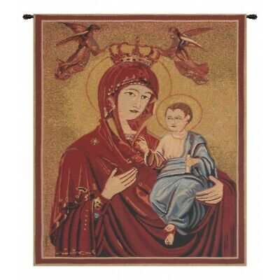 Madonna and Child Angels Icon European Woven Tapestry Wall Hanging