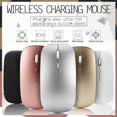 2.4GHz Rechargeable Wireless Mouse Silent Ultra Thin USB Mice for Laptop PC USA