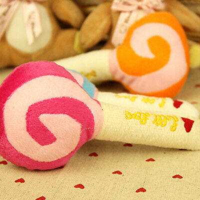 1X Pet Dog Puppy Cat Squeaky Squeaker Sound Toy  Cotton Wool Lolli15cm ^