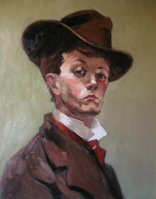 Portrait of a youth in a hat ( original oil painting reproduction)