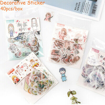 40pcs Creative Diary Label Stickers Cute Stationery DIY Scrapbooking Decorations