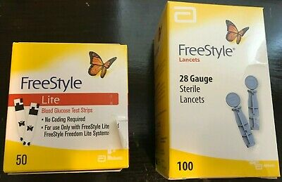 50 Freestyle Lite Glucose Test Strips & 100 Lancets-  SHIPS SAME DAY!