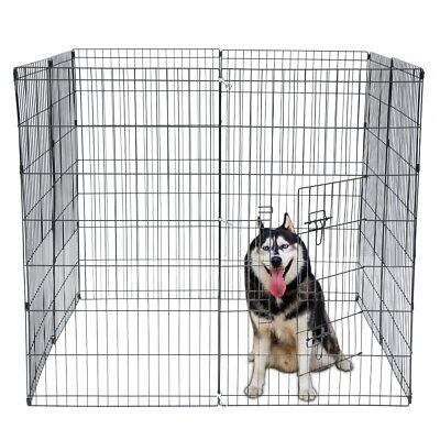 """42"""" Pet Dog Cat Tall Wire Fence Folding Exercise Yard Play Pen Black Variable"""