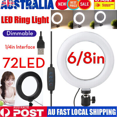 "Dimmable LED Ring Fill Light 6/10"" Photography Studio Photo Make Up Video  Lamp"