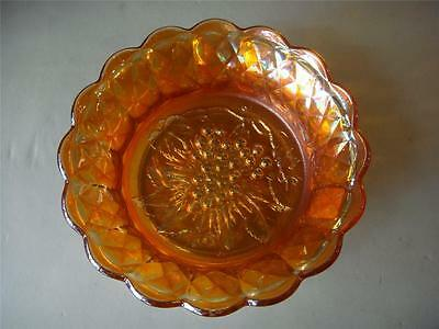 Antique Marigold Carnival Glass Bowl  Grapes Design Vintage  C.1920's