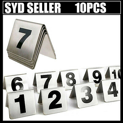 Stainless Steel Table Numbers Holder Stand 1-10 Cafe Restaurant Sign Card Stand