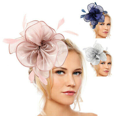 Wedding Fascinator Headband Feather Flower Top Hat Lady Party Hair Accessories