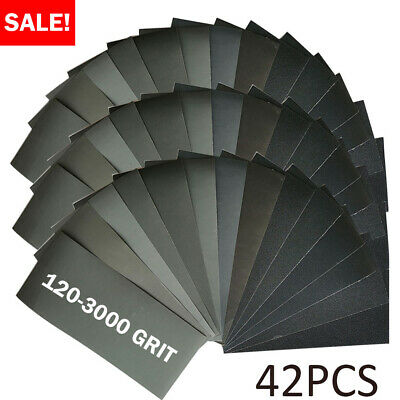 42pc Mixed Wet and Dry Abrasive Sandpaper 120-3000 Grit Sheets Wood Assorted