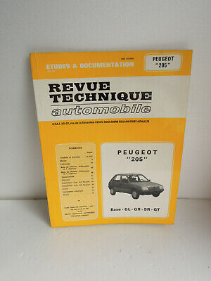 Revue Technique Automobile PEUGEOT 205  Base -GL GR SR GT...1983