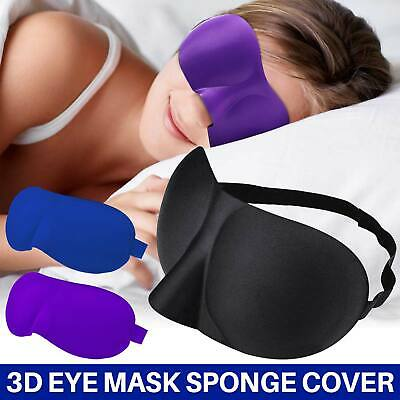 3D Soft Padded Blindfold Eye Mask Blackout Travel Rest Sleep Aid Shade Cover UK