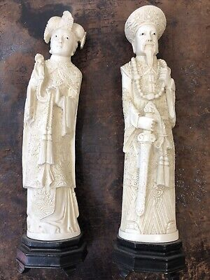 Antique Chinese Pair Hand Carving Emperor and empress figure statue