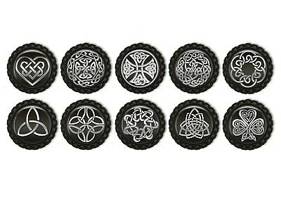 5/10x Black And Silver Celtic Flattened  Bottle Caps 1inch