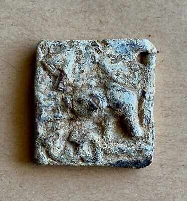 An ancient square lead weight with a deer and a syriac inscription. Unique!