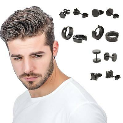 6 Pairs Black Flat Round Barbell Earrings Plug Gym Mens Mm Stud Stainless Steel