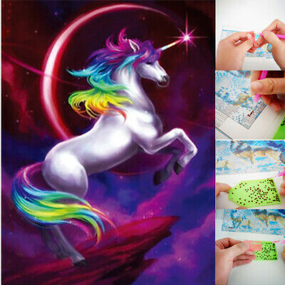 5D Diamond Painting Embroidery Cross Craft Stitch Pictures Art Kit Unicorn Horse