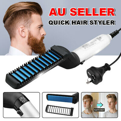 Multifunctional Quick Hair Beard Straightener Comb Curling Curly Show Cap Men AU