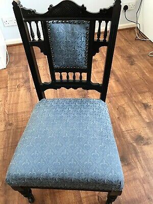 Antique victorian or edwardian nursing chair, recovered, original castors, GC