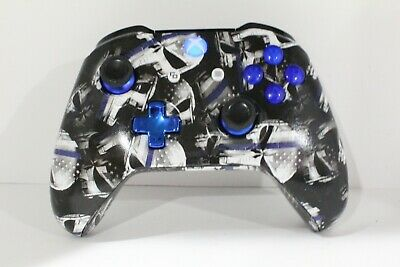 Microsoft Xbox One Bluetooth Controller w/Custom Hydro-Dipped Blue Line Punisher