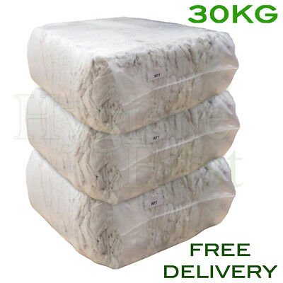 30Kg Bag of Rags White Terry Towel Towelling Wiper Garage Wiping Polishing Cloth