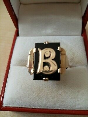 ANTIQUE ART DECO ERA SOLID 9ct GOLD & BLACK ONYX INITIAL RING. SIZE X - 1920